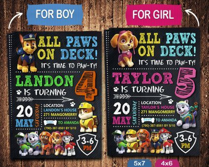 Paw Patrol Birthday Invites Printable, Paw Patrol Invitation, Paw Patrol Birthday Party, Printable Paw Patrol