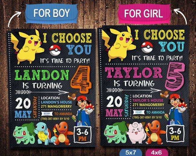 Pokemon Birthday Invites Printable, Pokemon Invite, Pikachu Invitation, Pokemon Birthday Party, Pokemon Printable