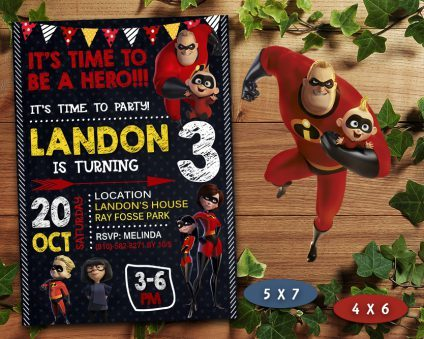 The incredibles Invitation, The incredibles Invite, The incredibles Birthday Party, The incredibles Printable, The incredibles Card, DIY