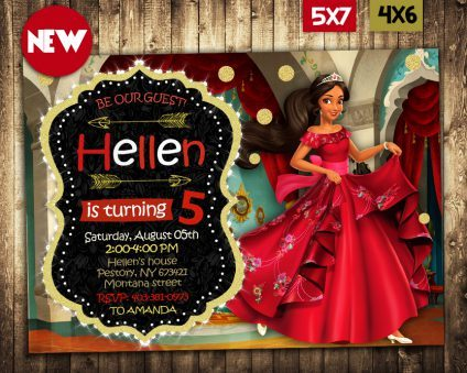 Elena of Avalor Invitation, Elena of Avalor Invite, Elena of Avalor Birthday Party, Elena of Avalor Printable, DIY