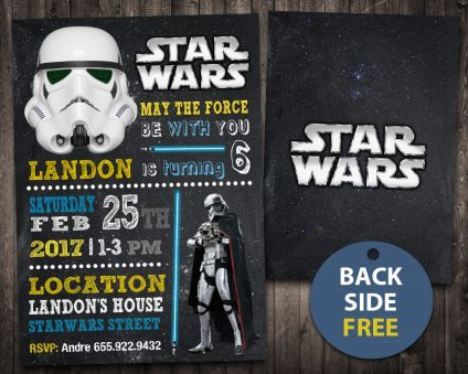 Star Wars Invitation Card, Star Wars Invite, Star Wars Birthday Party, Star Wars Printable, DIY