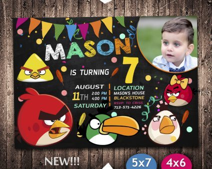 Angry Birds Invitation, Angry Birds Invite, Angry Birds Birthday Party, Angry Birds Printable, DIY