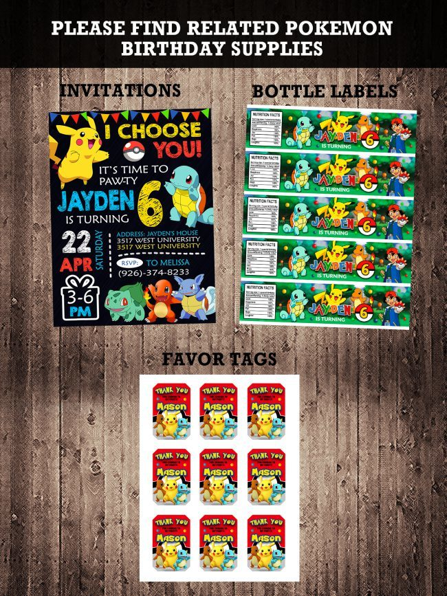 Pokemon Party Invites, Pokemon Invite, Pikachu Invitation, Pokemon Birthday Party, Pokemon Printable