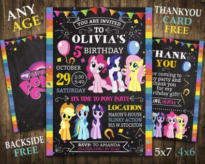 My Little Pony Birthday Invitation, My Little Pony Invite, My Little Pony Birthday Party, My Little Pony Printable, My Little Pony Card, DIY