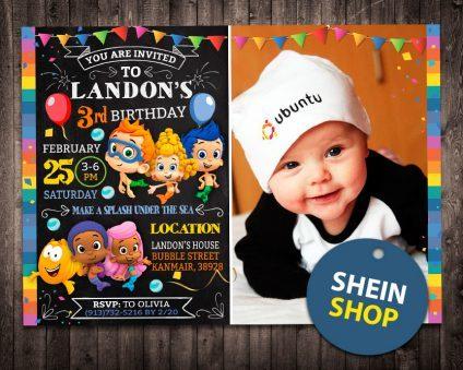 Bubble Guppies Invitation With Picture, Bubble Guppies Invite, Bubble Guppies Birthday Party, Bubble Guppies Printable, Bubble Guppies Card, DIY