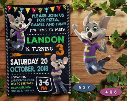 Chuck E Cheese Invitation, Chuck E Cheese Invite, Chuck E Cheese Birthday Party, Chuck E Cheese Printable, DIY