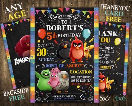 Angry Birds Invitation With Picture, Angry Birds Invite, Angry Birds Birthday Party, Angry Birds Printable, DIY