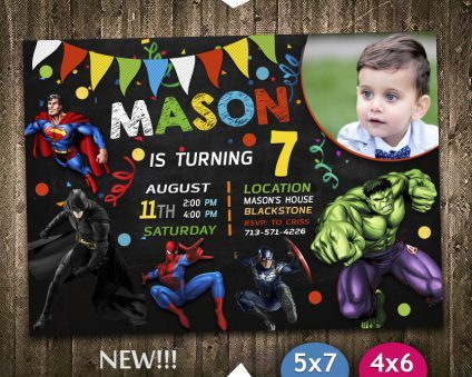 Avengers Birthday Invitations Boys, Superhero Invitation, Avengers Invite, Superhero Invite, Avengers Birthday Party, Avengers Printable, Avenger Card, DIY