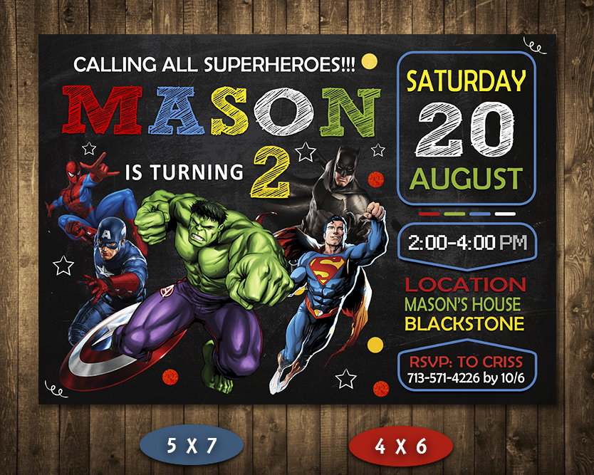 Avengers Invitations Printables