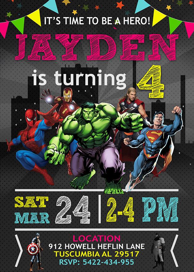 Avengers Birthday Invitations, Superhero Invitation, Avengers Invite, Superhero Invite, Avengers Birthday Party, Avengers Printable, Avenger Card, DIY