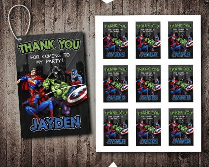 Avengers Thank You Tags, Superheroes Thank You Tags, Avengers Tags, Avengers Thank You Card, DIY