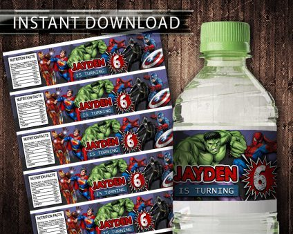 Avengers Water Bottle Labels, Avengers Bottle Labels, Water Labels, Avengers Birthday Party, DIY