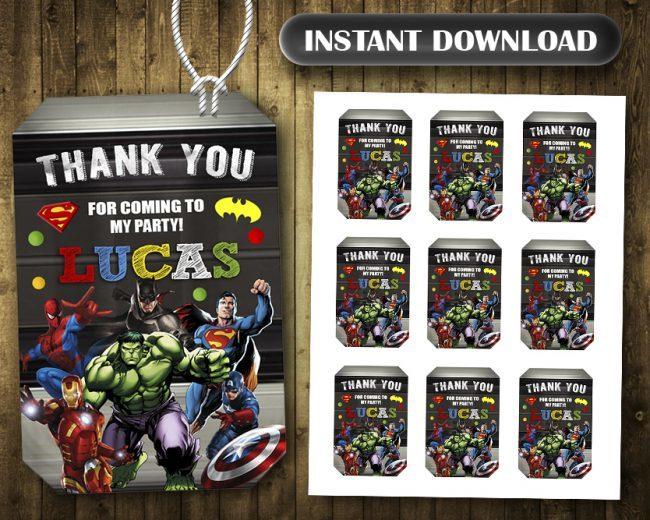 Avengers Thank You Tags, Superheroes Thank You Tags, Avengers Tags, Avengers Thank You Card, DIY