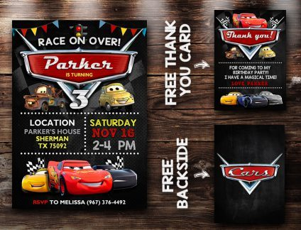 Disney Cars Birthday Invites, Disney Cars Invite, Cars 3, Disney Cars Birthday Party, Disney Cars Printable, DIY