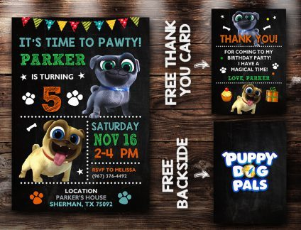 Puppy Dog Pals Invitation, Puppy Dog Pals Invite, Puppy Dog Pals Birthday Party, Puppy Dog Pals Printable, Puppy Dog Pals Card, DIY