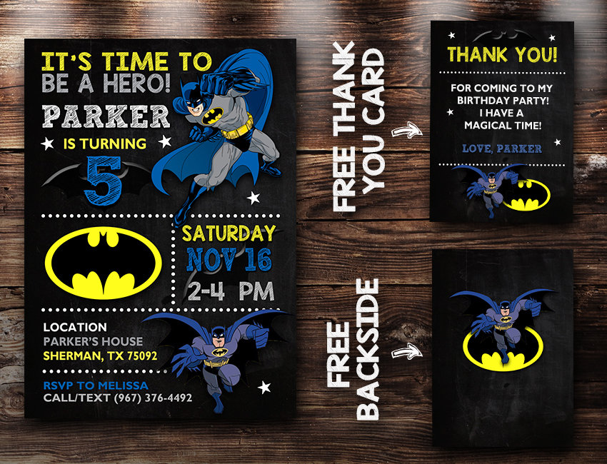 Batman Birthday Invites Batman Invite Batman Birthday Party Batman Printable Diy Makemedesign