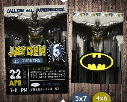 Batman Birthday Invitation, Batman Invite, Batman Birthday Party, Batman Printable, DIY
