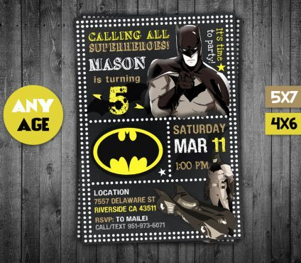 Batman Party Invites, Batman Invite, Batman Birthday Party, Batman Printable, DIY