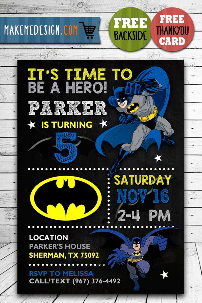 Batman Birthday Invites, Batman Invite, Batman Birthday Party, Batman Printable, DIY