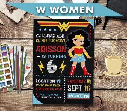 Wonder Woman Invitation, Wonder Woman Invite, Wonder Woman Birthday Party, Wonder Woman Printable, DIY
