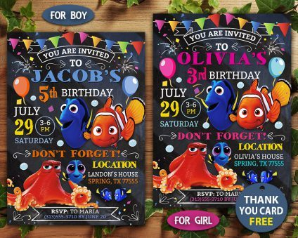 Finding Dory Party Invites, Finding Nemo Invitation, Finding Dory Invite, Finding Nemo Invite, Finding Dory Birthday Party, Finding Dory Printable, Finding Dory Card, DIY