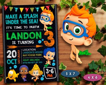 Bubble Guppies Invitation, Bubble Guppies Invite, Bubble Guppies Birthday Party, Bubble Guppies Printable, Bubble Guppies Card, DIY