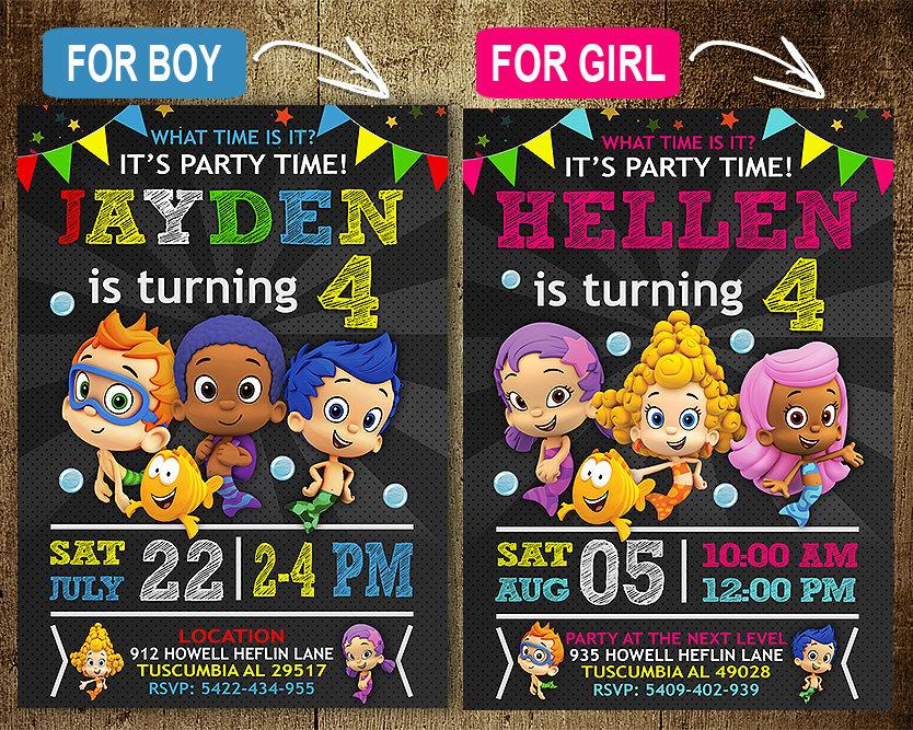 Bubble Guppies Invitation, Bubble Guppies Invite, Bubble ...