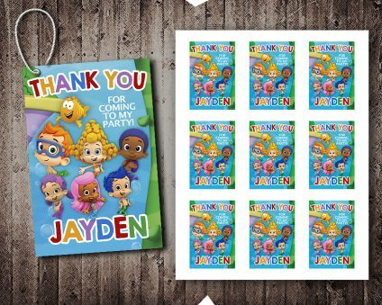 Bubble Guppies Thank You Tags, Bubble Guppies Tags, Bubble Guppies Thank You Card, DIY