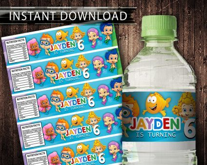 Bubble Guppies Water Bottle Labels, Bubble Guppies Bottle Labels, Water Labels, Bubble Guppies Birthday Party, DIY