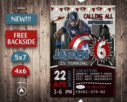 Captain America Invitation, Captain America Invite, Captain America Birthday Party, Captain America Printable, Captain America Card, DIY