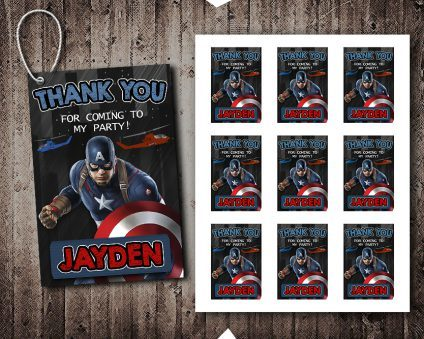 Captain America Thank You Tags, Captain America Tags, Captain America Thank You Card, DIY