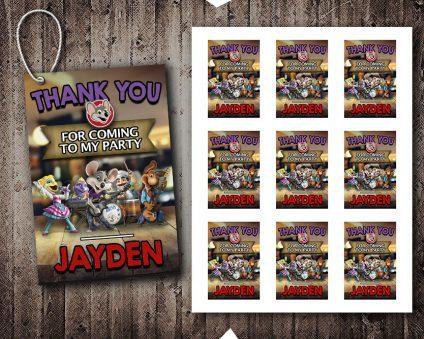 Chuck E Cheese Thank You Tags, Chuck E Cheese Tags, Chuck E Cheese Thank You Card, DIY