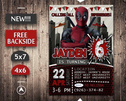 Deadpool Invitation, Deadpool Invite, Deadpool Birthday Party, Deadpool Printable, Deadpool Card, DIY