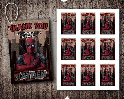 Deadpool Thank You Tags, Deadpool Tags, Deadpool Thank You Card, DIY