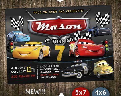 Disney Cars Party Invites, Disney Cars Invite, Cars 3, Disney Cars Birthday Party, Disney Cars Printable, DIY