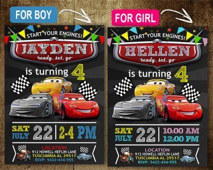 Disney Cars Invitation, Disney Cars Invite, Cars 3, Disney Cars Birthday Party, Disney Cars Printable, DIY