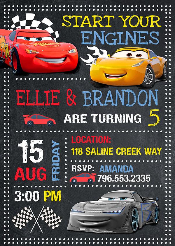 Disney Cars Invitations Printables, Disney Cars Invite, Cars 3, Disney Cars Birthday Party, Disney Cars Printable, DIY