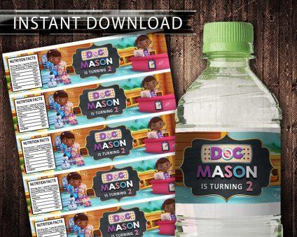 Doc Mcstuffin Water Bottle Labels, Doc Mcstuffin Bottle Labels, Water Labels, Doc Mcstuffin Birthday Party, DIY