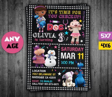 Doc Mcstuffins Party Invites, Doc Mcstuffins Invite, Doc Mcstuffins Birthday Party, Doc Mcstuffins Printable, Doc Mcstuffins Card, DIY