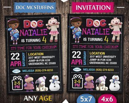Doc Mcstuffins Invitations Printables, Doc Mcstuffins Invite, Doc Mcstuffins Birthday Party, Doc Mcstuffins Printable, Doc Mcstuffins Card, DIY