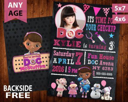 Doc Mcstuffins Invitations Girl, Doc Mcstuffins Invite, Doc Mcstuffins Birthday Party, Doc Mcstuffins Printable, Doc Mcstuffins Card, DIY