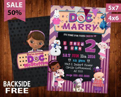 Doc Mcstuffins Invitation, Doc Mcstuffins Invite, Doc Mcstuffins Birthday Party, Doc Mcstuffins Printable, Doc Mcstuffins Card, DIY