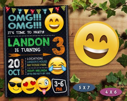 Emoji Invitation, OMG Invitation, Emoji Invite, OMG Invite, Emoji Birthday Party, Emoji Printable, Emoji Card, DIY