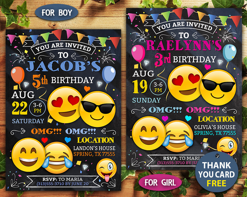 It is a picture of Printable Emoji Invitations intended for text message birthday invitation