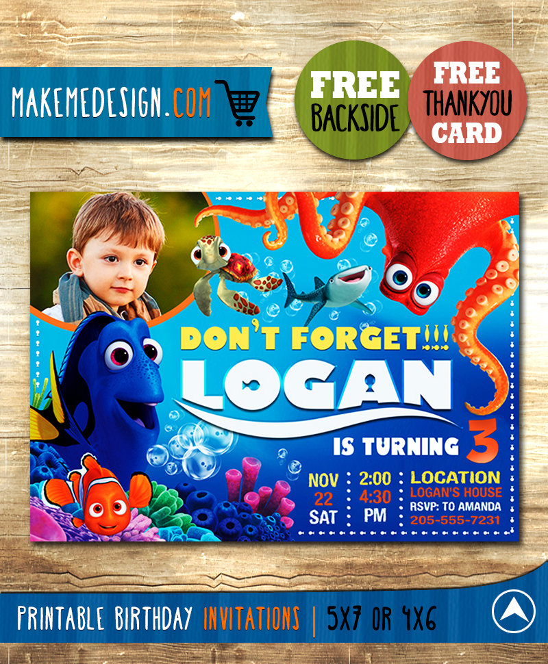 Finding Dory Invitations Boy