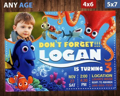 Finding Dory Invitations Boy, Finding Nemo Invitation, Finding Dory Invite, Finding Nemo Invite, Finding Dory Birthday Party, Finding Dory Printable, Finding Dory Card, DIY