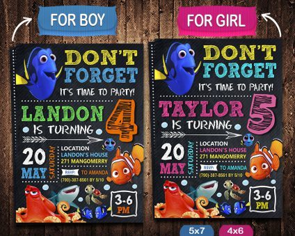 Finding Dory Invitations Printables, Finding Nemo Invitation, Finding Dory Invite, Finding Nemo Invite, Finding Dory Birthday Party, Finding Dory Printable, Finding Dory Card, DIY