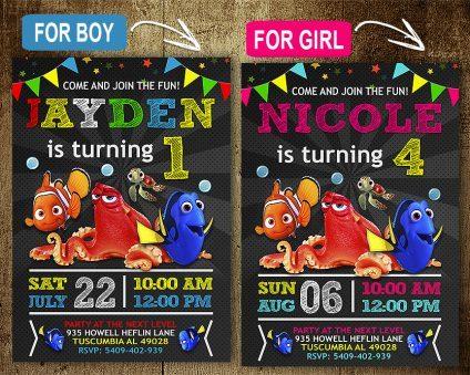 Finding Dory Birthday Invitation, Finding Nemo Invitation, Finding Dory Invite, Finding Nemo Invite, Finding Dory Birthday Party, Finding Dory Printable, Finding Dory Card, DIY