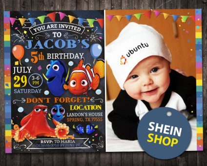 Finding Dory Invitation With Picture, Finding Nemo Invitation, Finding Dory Invite, Finding Nemo Invite, Finding Dory Birthday Party, Finding Dory Printable, Finding Dory Card, DIY