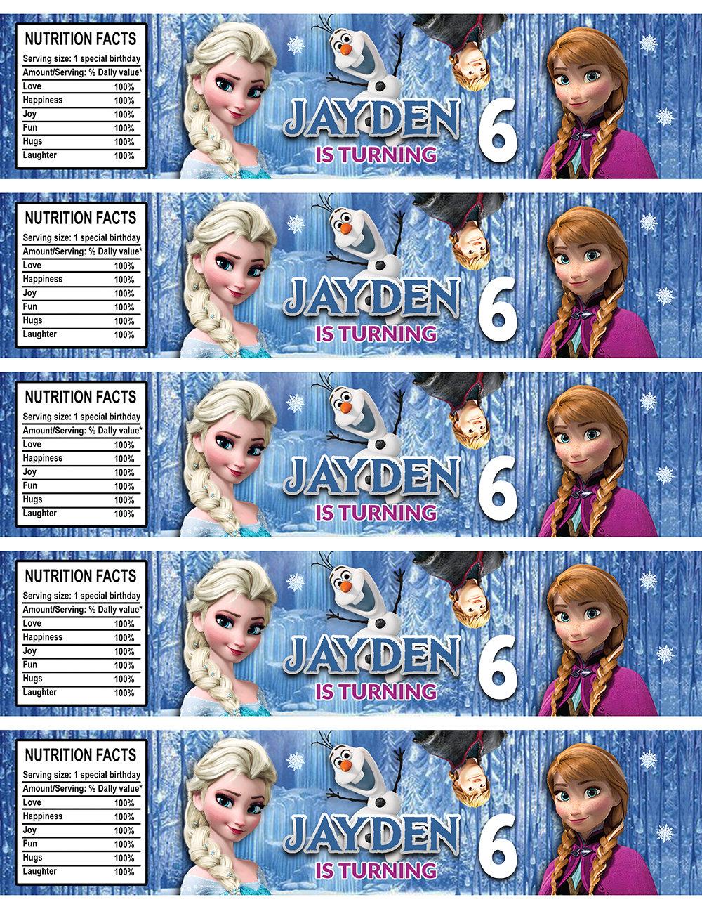 Frozen Water Bottle Labels Frozen Bottle Labels Water Labels Frozen Birthday Party Diy Makemedesign
